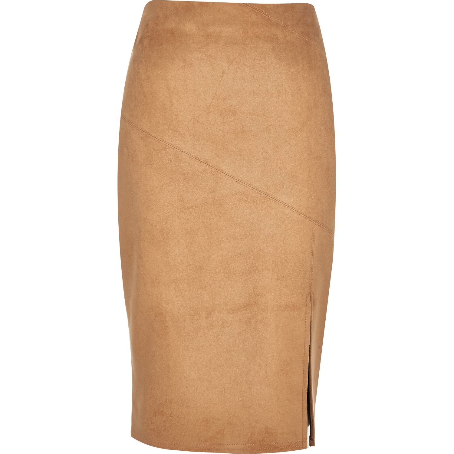 7f3bb24a9 River Island Tan Faux Suede Split Pencil Skirt in Brown - Lyst