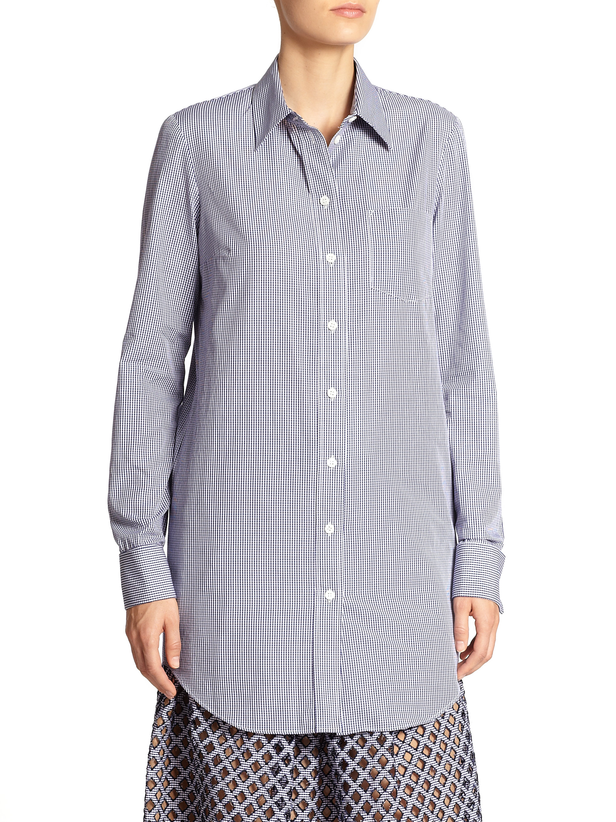 Michael Kors Gingham Button Down Shirt In Blue Lyst