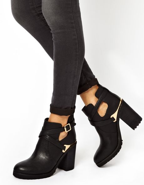 miss kg bonjour cut out heeled boots in black lyst