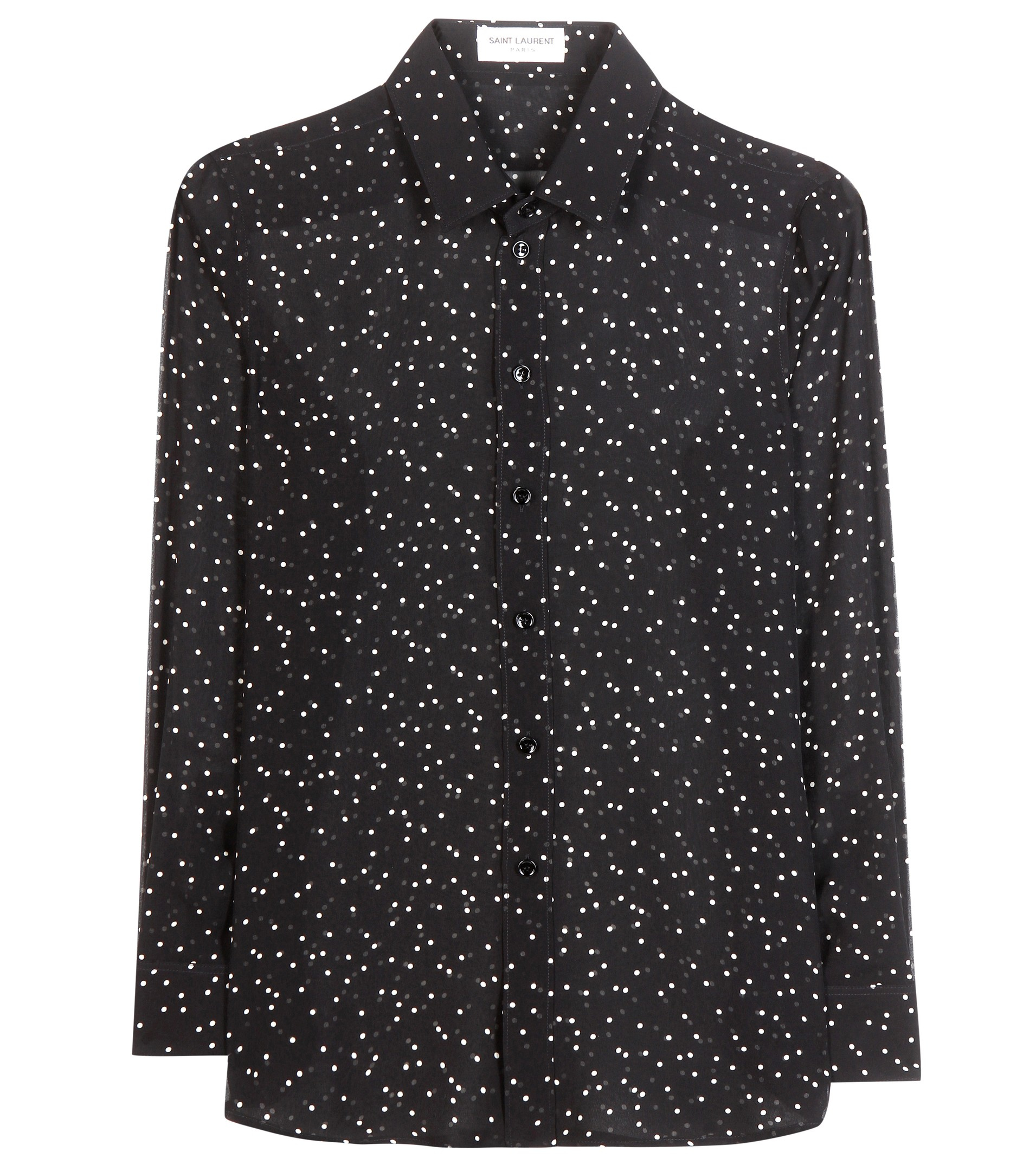 8ba0750092698c Lyst - Saint Laurent Polka-dot Silk Shirt in Black