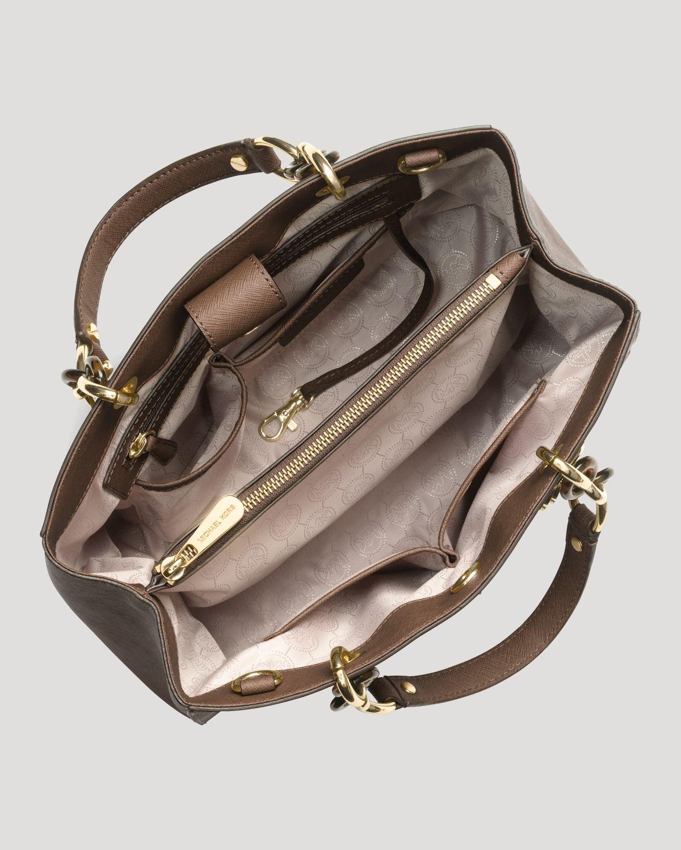 michael michael kors satchel cynthia medium in brown lyst. Black Bedroom Furniture Sets. Home Design Ideas
