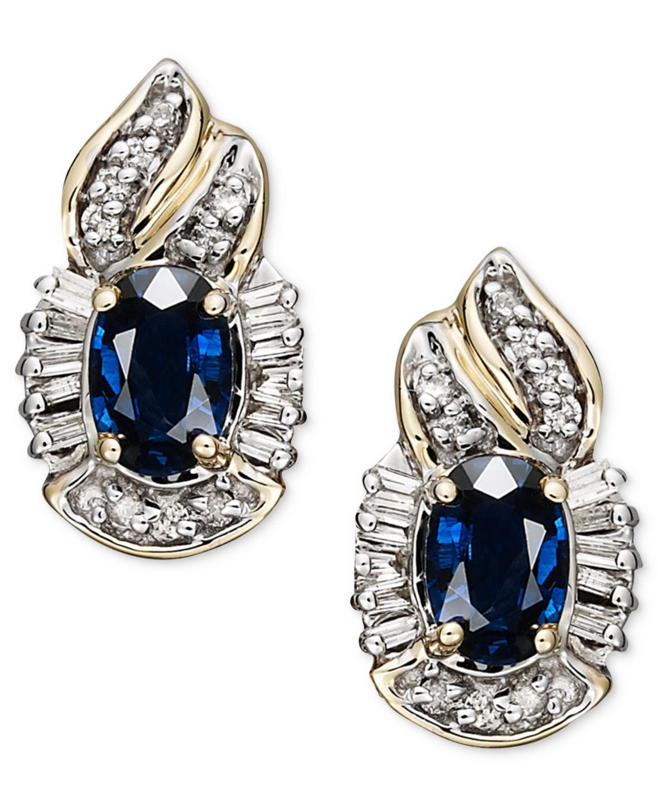 Lyst Macy S 14k Gold Earrings Sapphire 1 3 8 Ct T W And