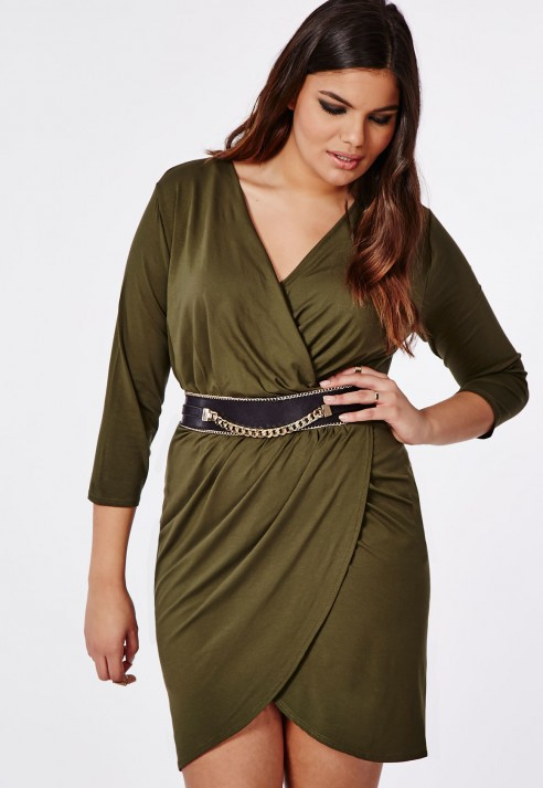 Lyst Missguided Plus Size Wrap Dress Khaki In Natural