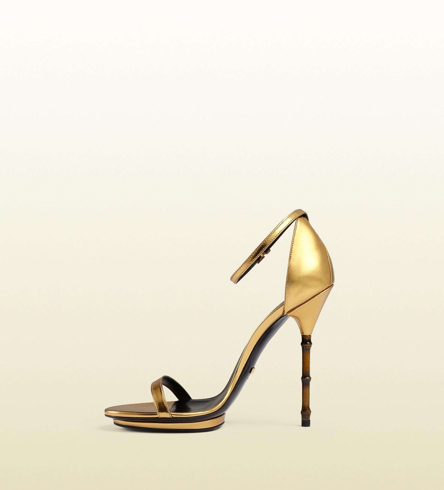 33dbaae08a1 Lyst - Gucci Metallic Leather Sandal With Bamboo Shaped Heel in Metallic