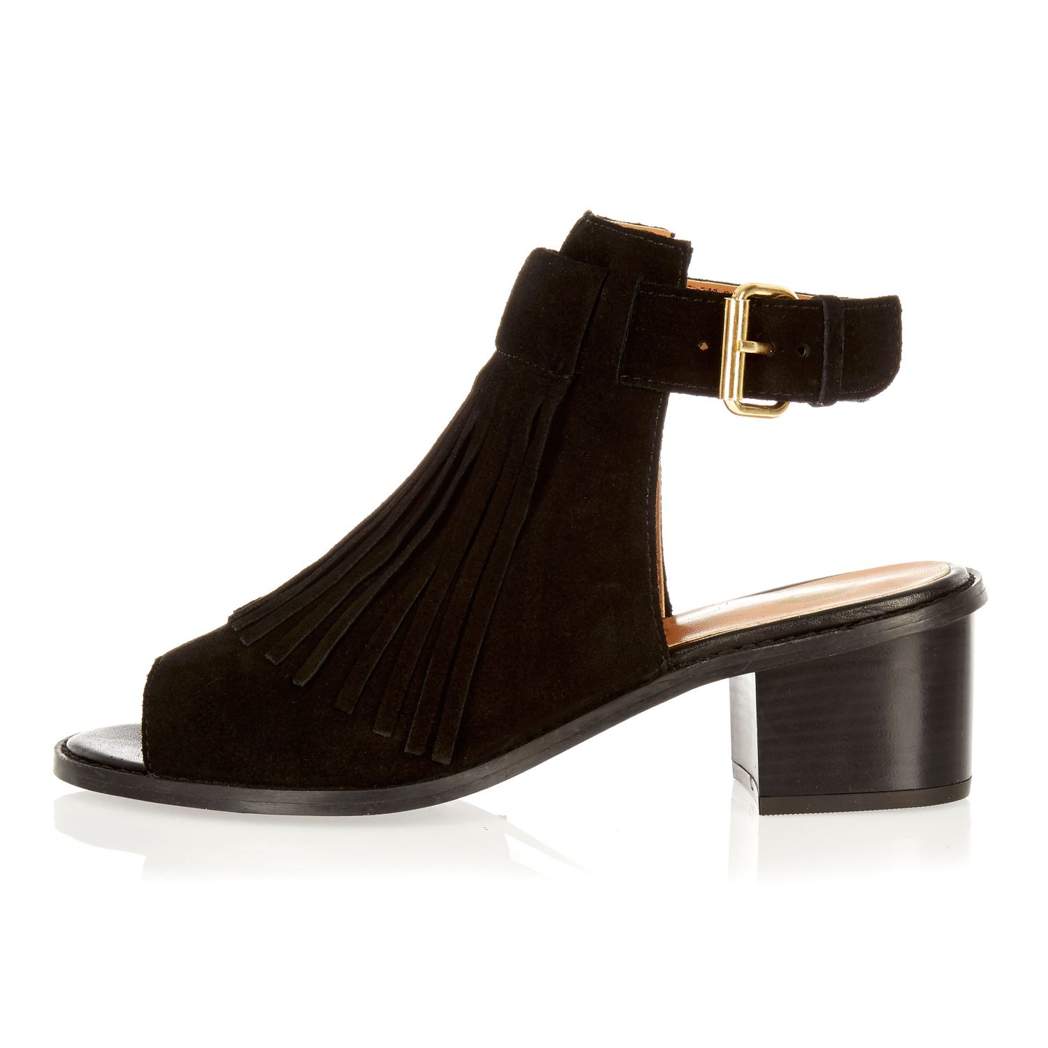 Lyst River Island Black Suede Fringed Block Heel Sandals