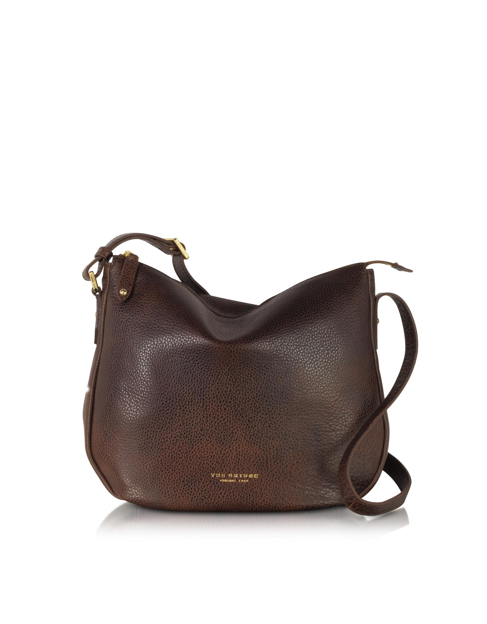 Lyst The Bridge Sfoderata Soft Dark Brown Leather Shoulder Bag In 4d53856f1d22a