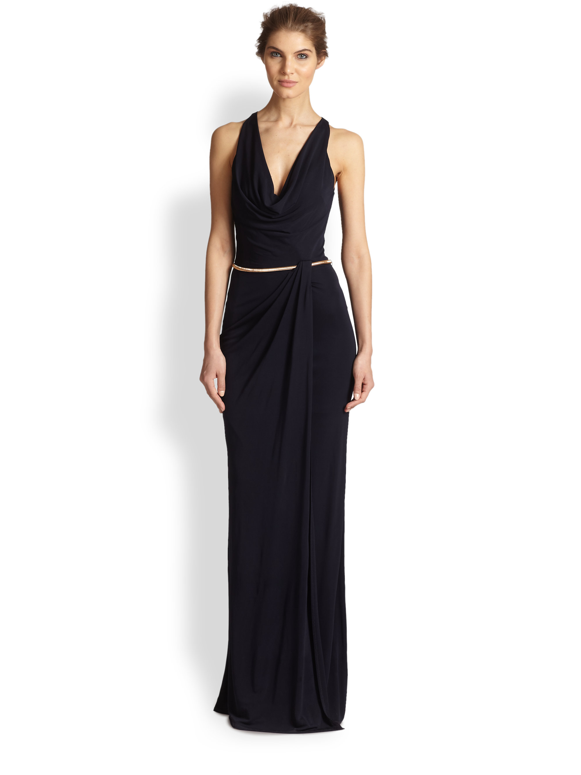 Lyst - David Meister Belted Cowl-Neck Gown in Blue