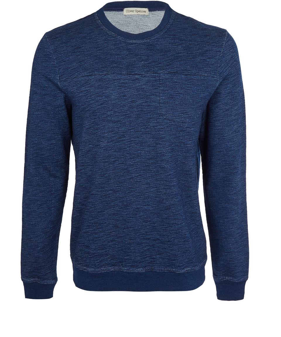 oliver spencer indigo rinse cotton sweatshirt in blue for. Black Bedroom Furniture Sets. Home Design Ideas