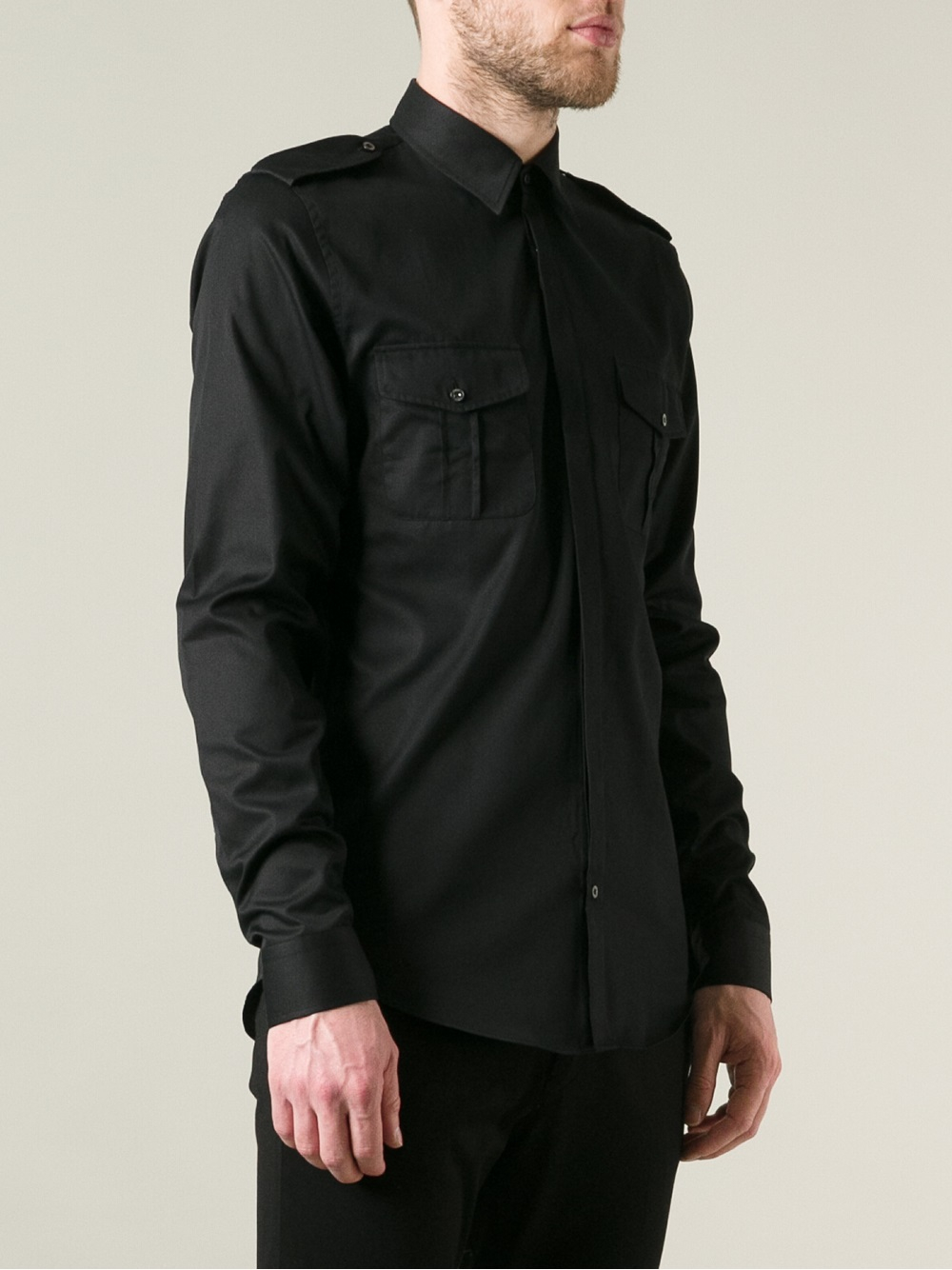 Gucci Military Style Shirt in Black for Men | Lyst