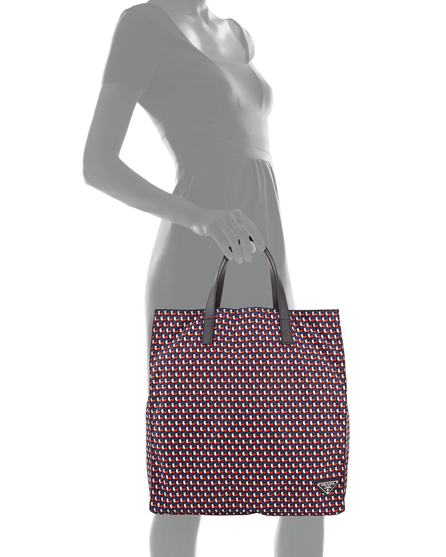 38347aa87d7af6 Prada Men's Octagon-print Nylon Tote Bag in Red - Lyst