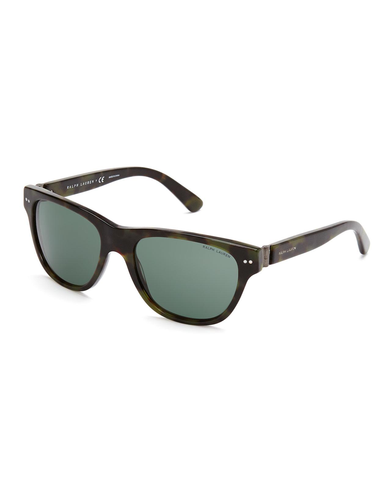 d02f2ae5b1 Ralph Lauren. Men s Black Ph 4080 Green Tortoiseshell-Look Wayfarer  Sunglasses