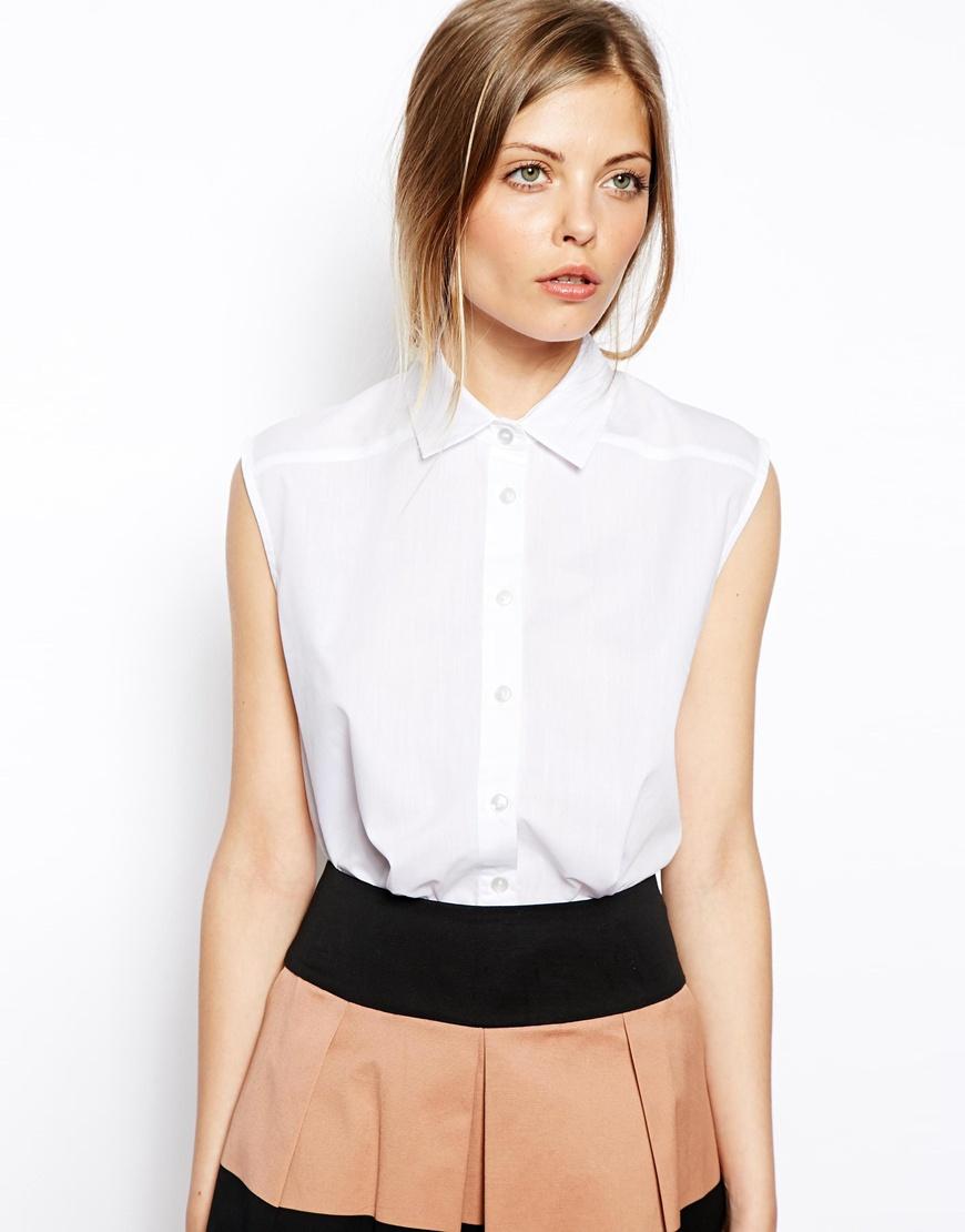 Asos Sleeveless Shirt in White | Lyst