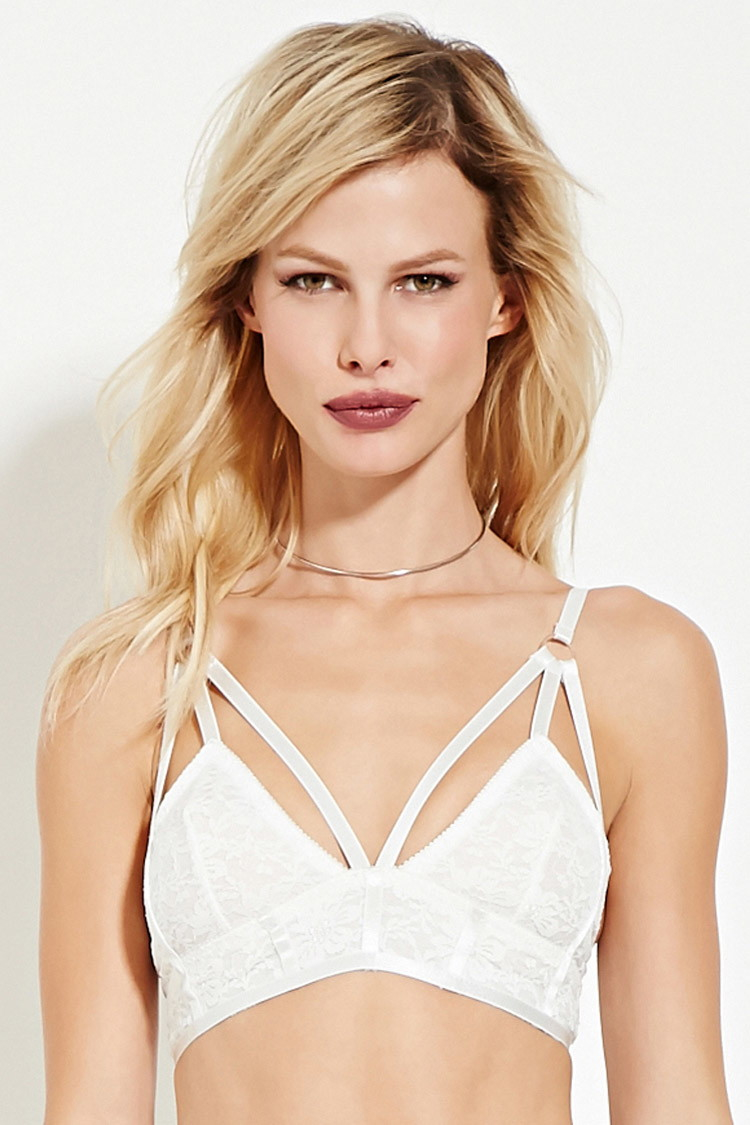 Forever 21 Rehab Strappy Lace Bralette in White | Lyst