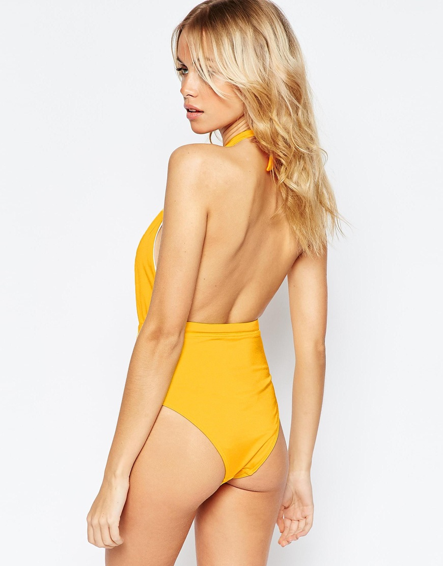 3a3fed2938 Lyst - ASOS 70s Plunge Halter Swimsuit in Yellow