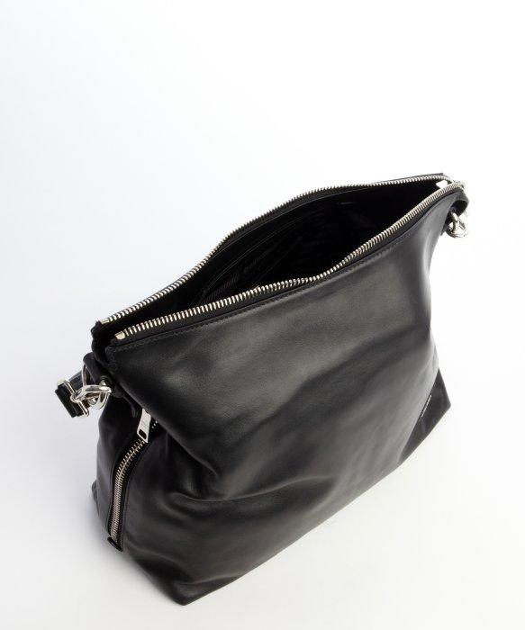 Prada Black Pebbled Leather Hobo Bag in Black | Lyst
