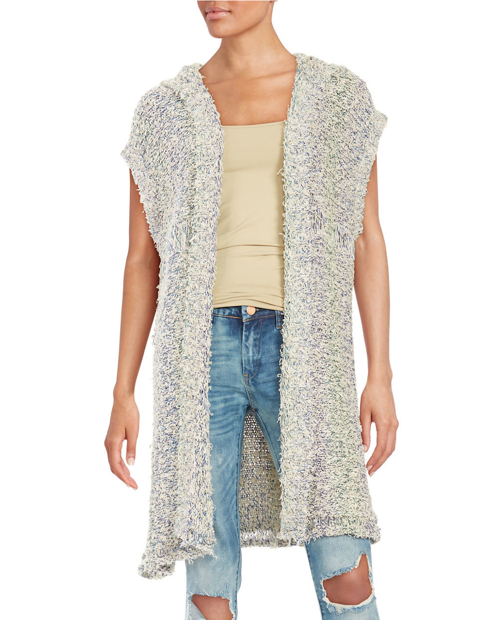 Free people Hooded Knit Duster Vest Lyst