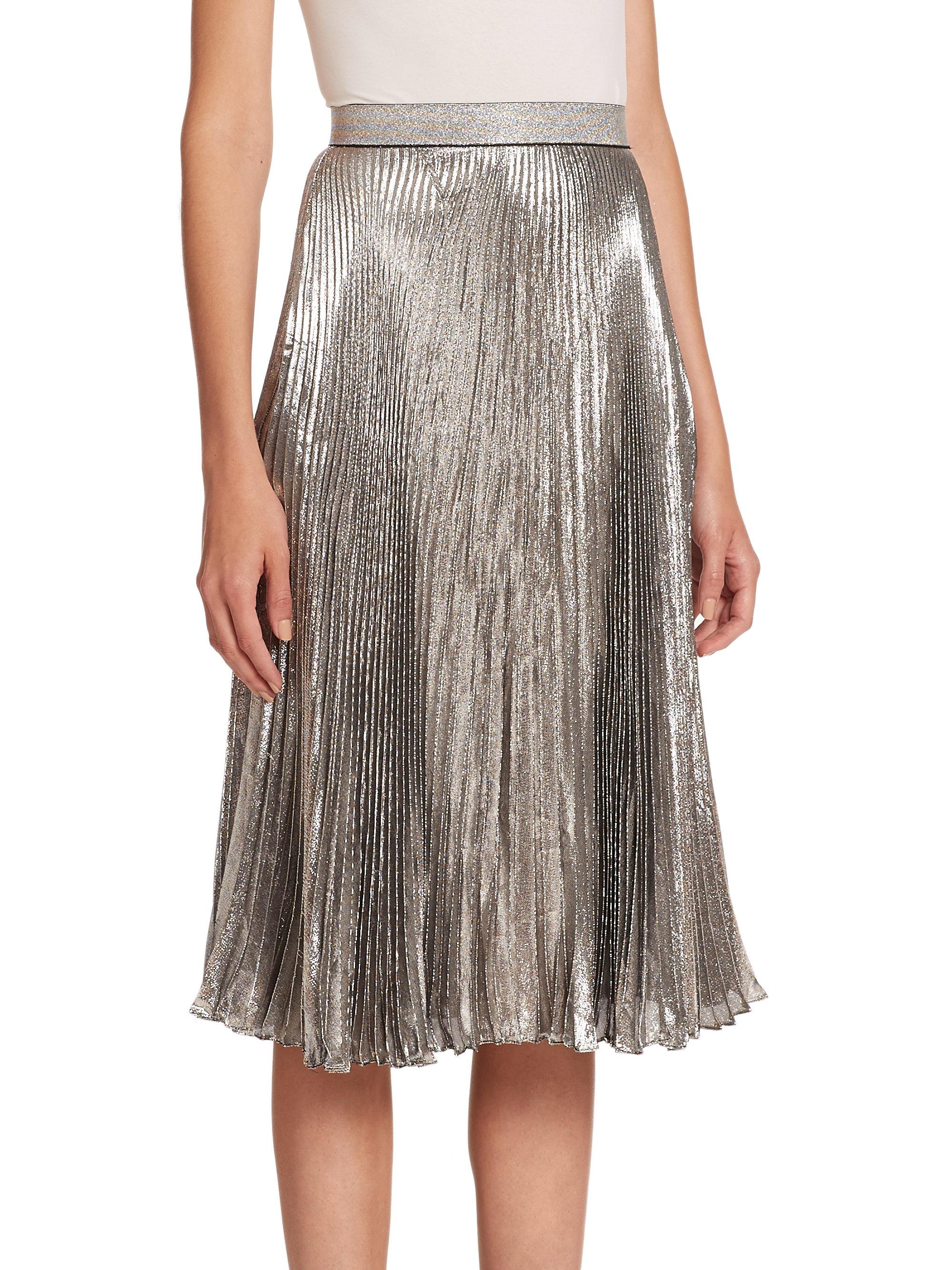 Christopher kane Pleated Midi Skirt in Metallic | Lyst