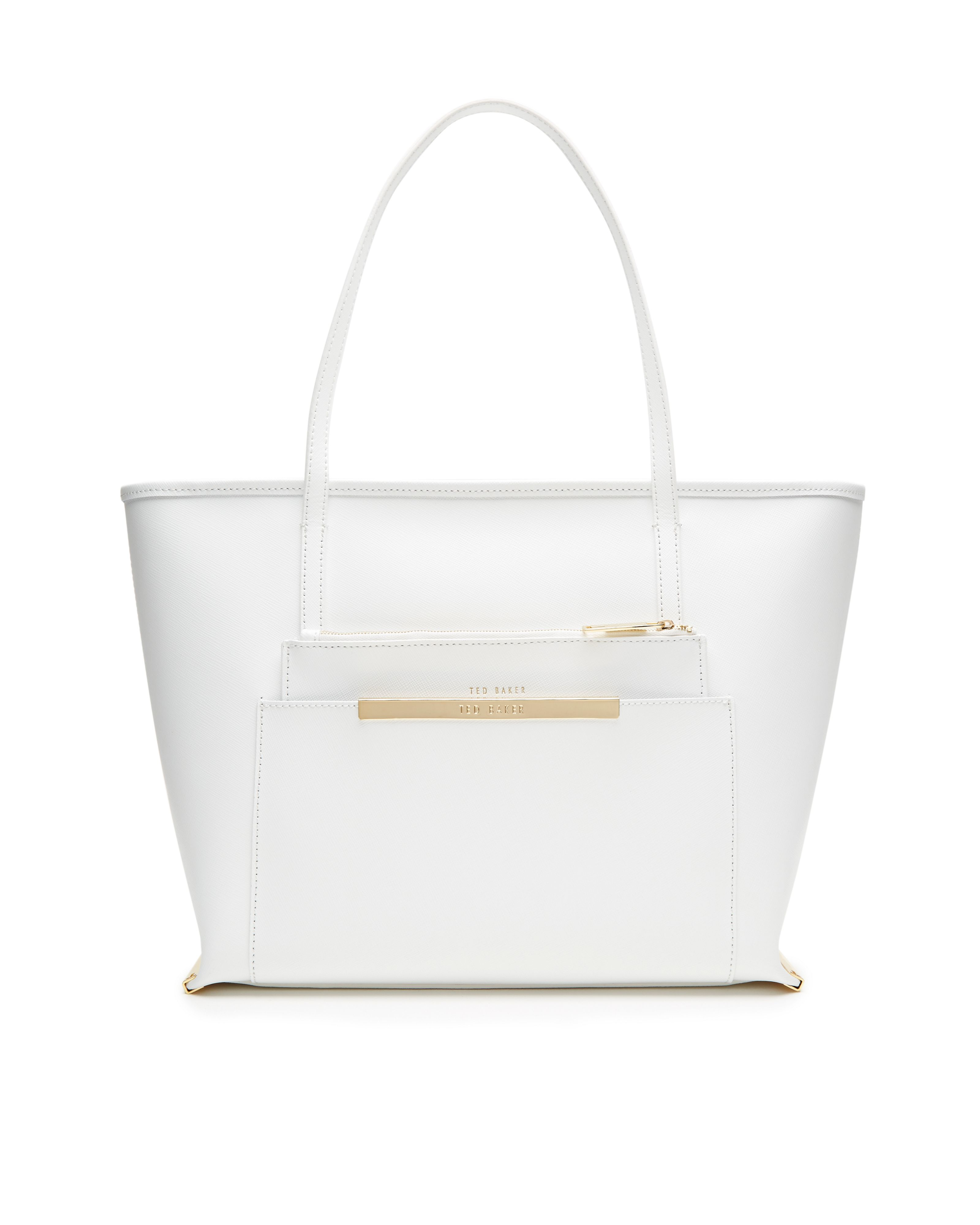 92fced2d7f53e Ted Baker Ile Crosshatch Leather Per Bag In White Lyst. White Leather Ted  Baker Purse Best Image Ccdbb