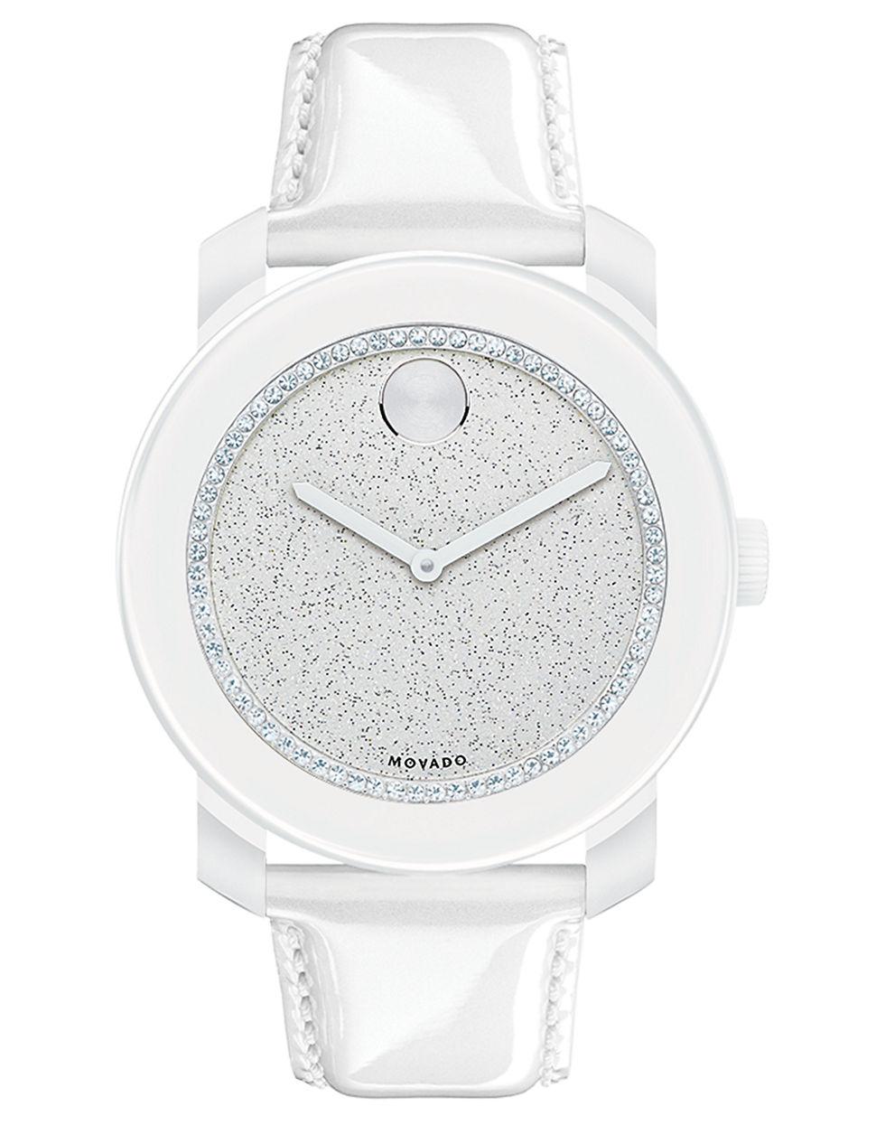 da59c960a Movado Bold Ladies Bold White Glitz Watch With Patent Leather Strap ...