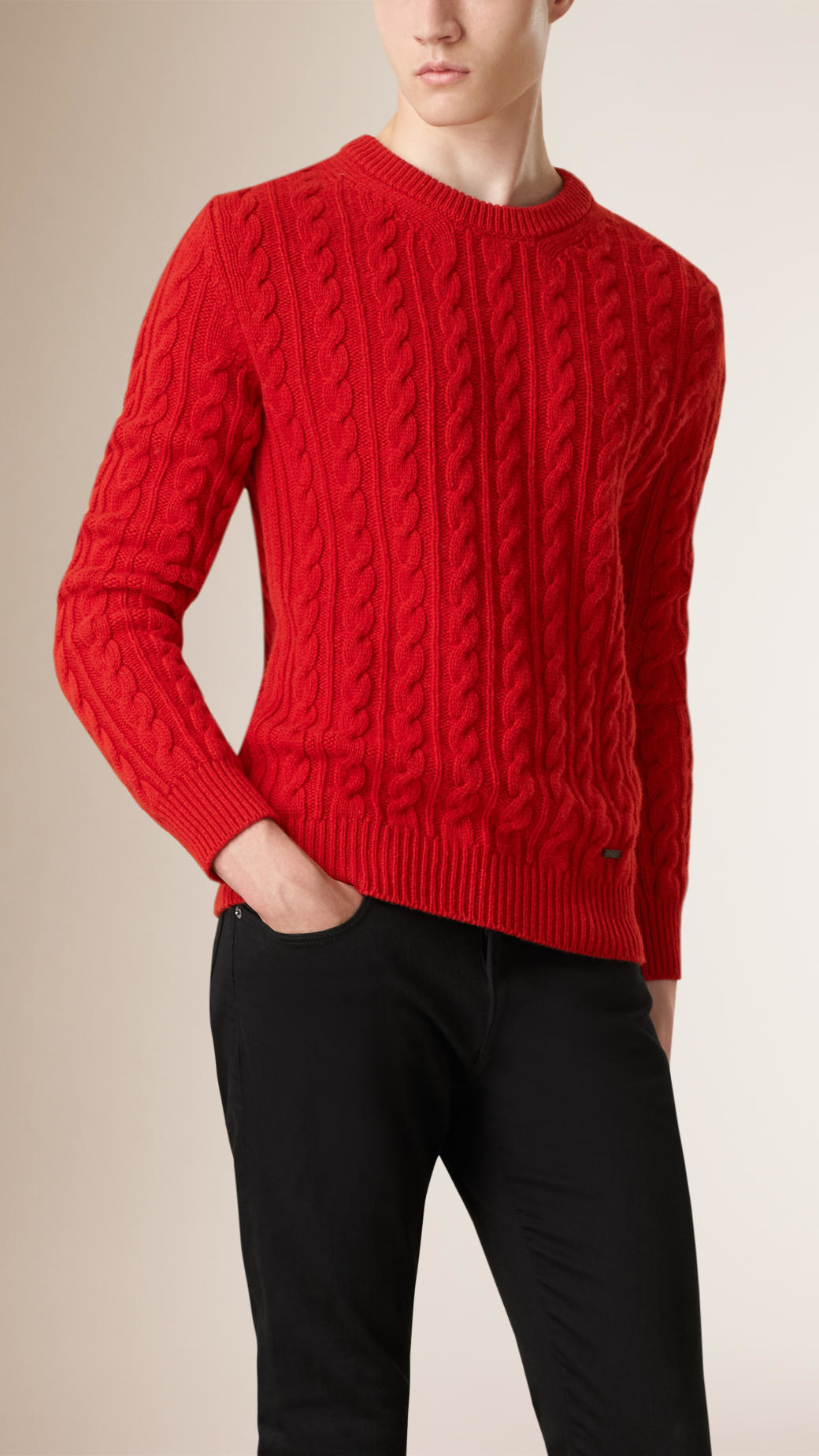 Burberry Cable Knit Wool Cashmere Sweater Parade Red in Red for ...