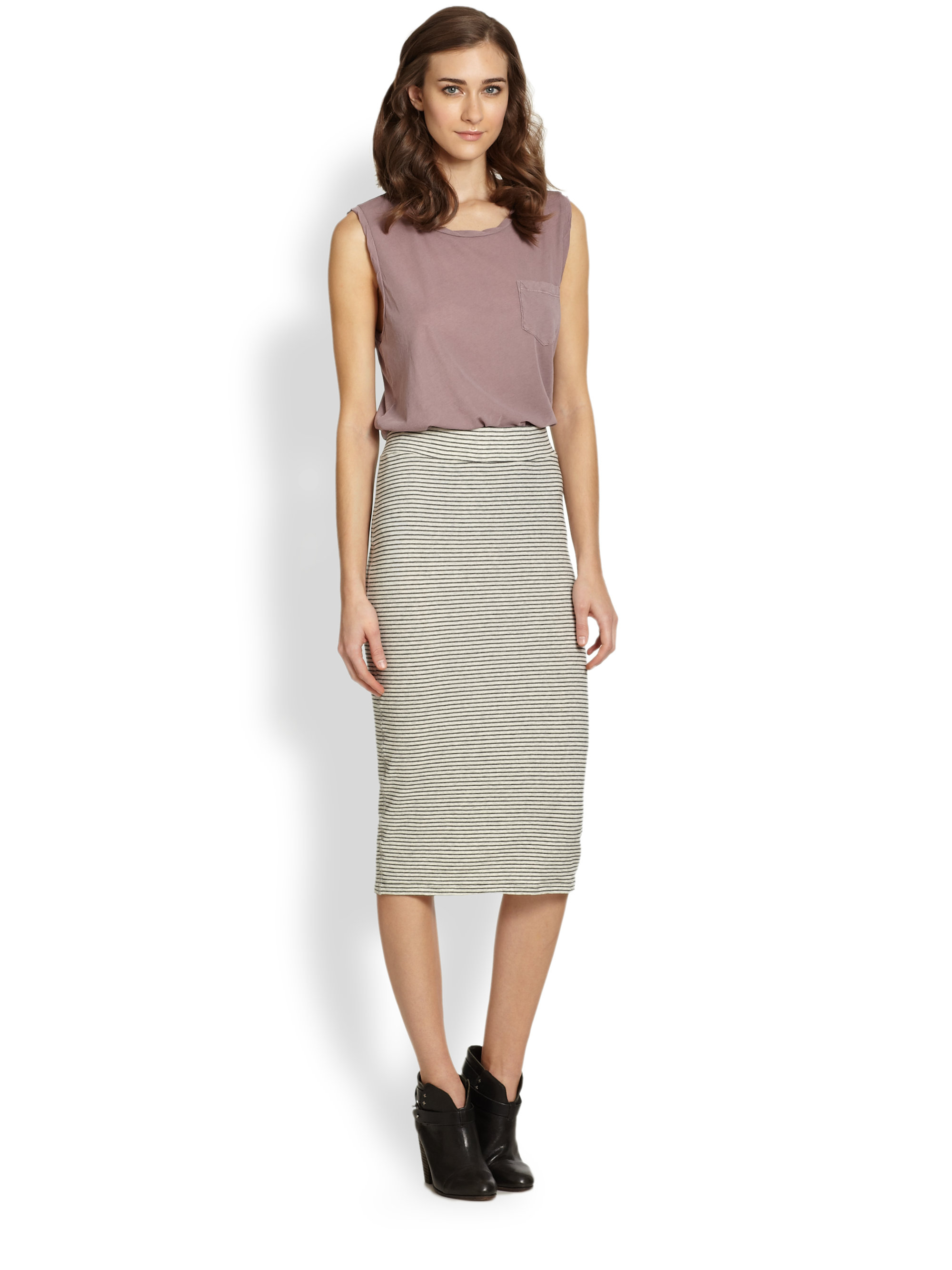James Perse Striped Ruched Side Skirt Cheap Enjoy Cheap Sale Buy K7owvgy8