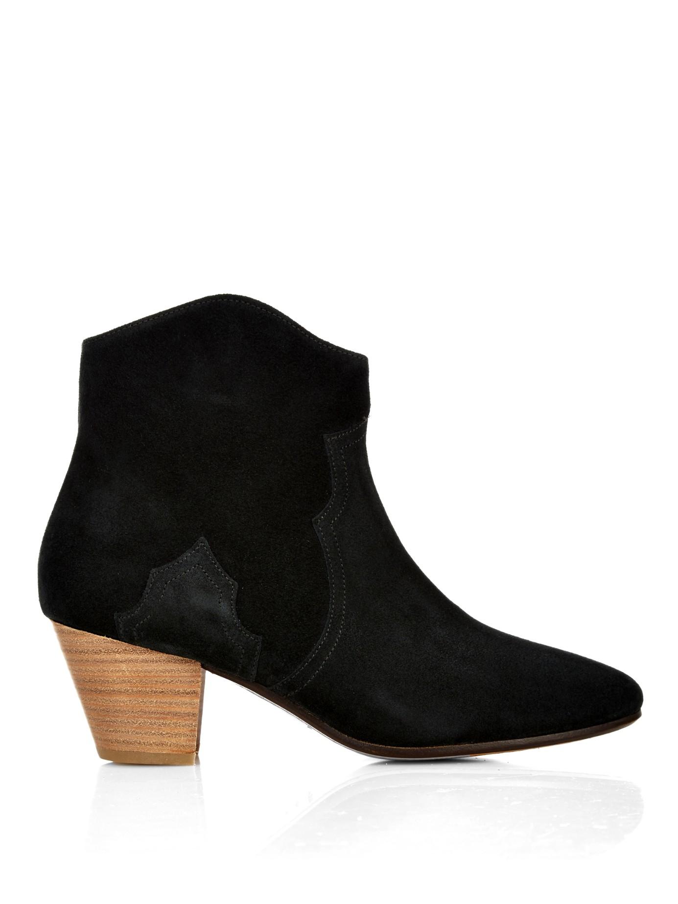 isabel marant toile dicker suede boots in black lyst. Black Bedroom Furniture Sets. Home Design Ideas