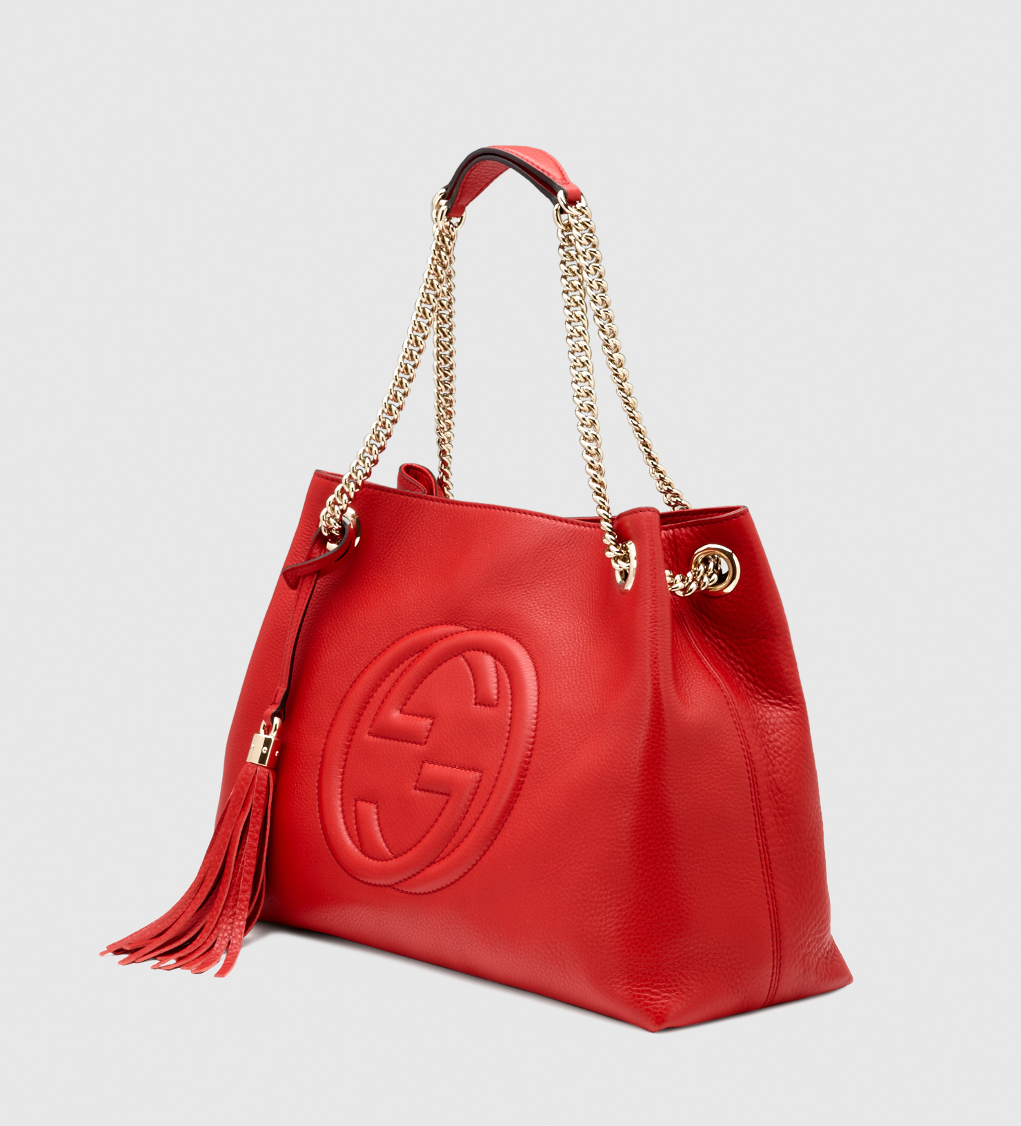 lyst gucci soho leather shoulder bag in red. Black Bedroom Furniture Sets. Home Design Ideas