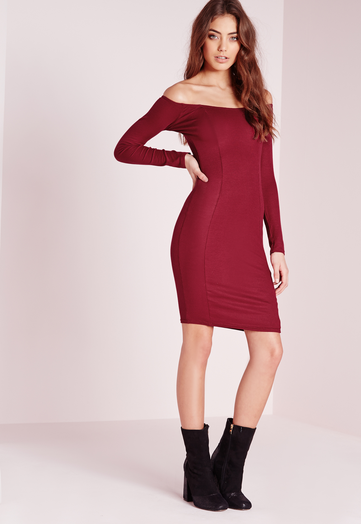9bc9bd09b3d Missguided Ribbed Jersey Long Sleeve Bardot Bodycon Dress Burgundy ...