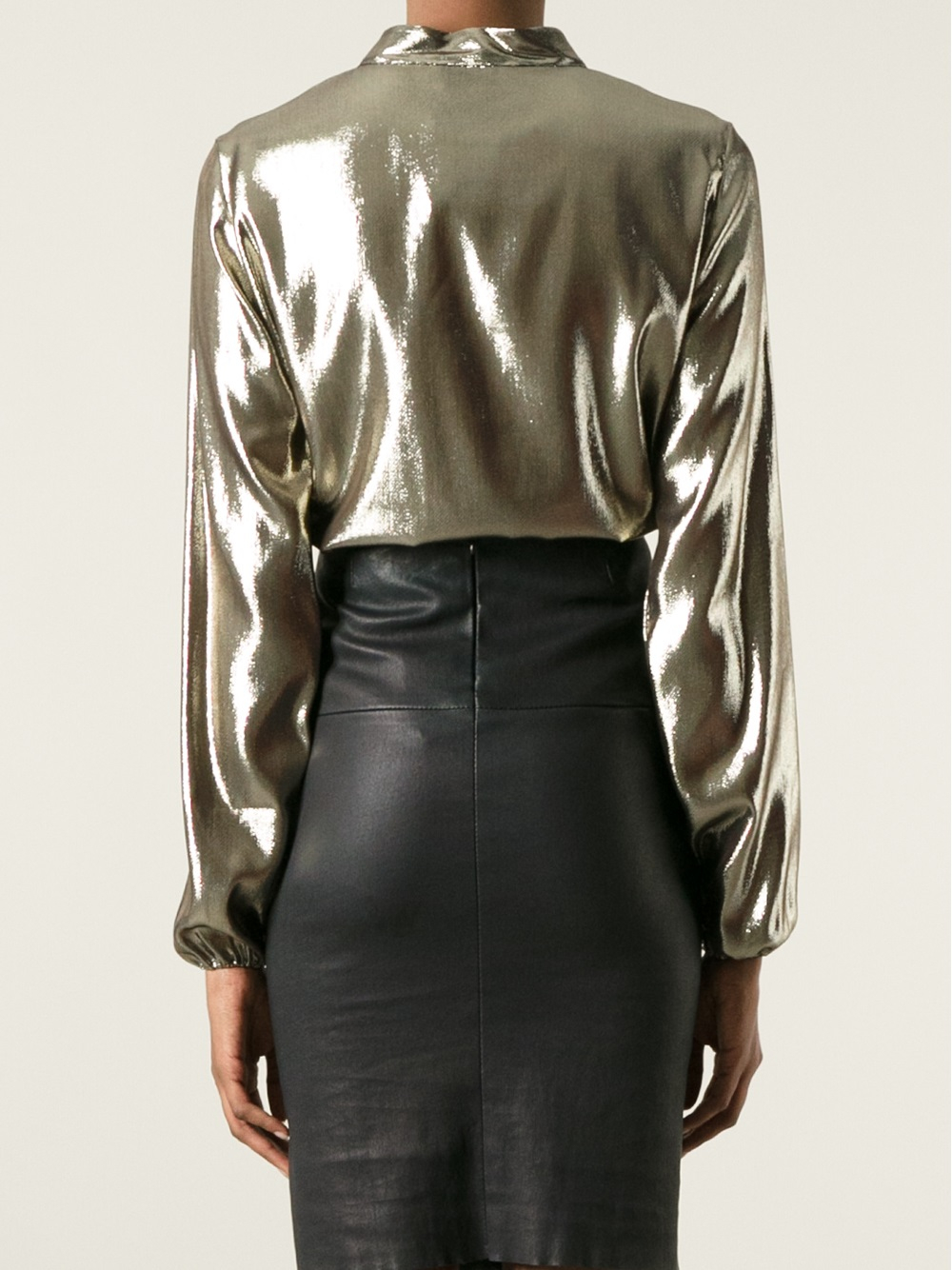 Lanvin Metallic Blouse in Metallic | Lyst