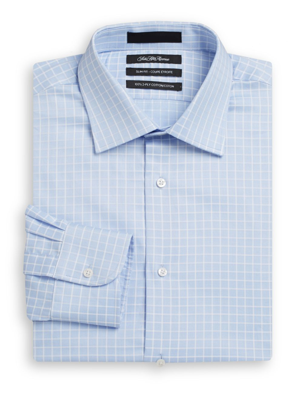 Saks fifth avenue slim fit windowpane two ply cotton dress for 2 ply cotton dress shirt