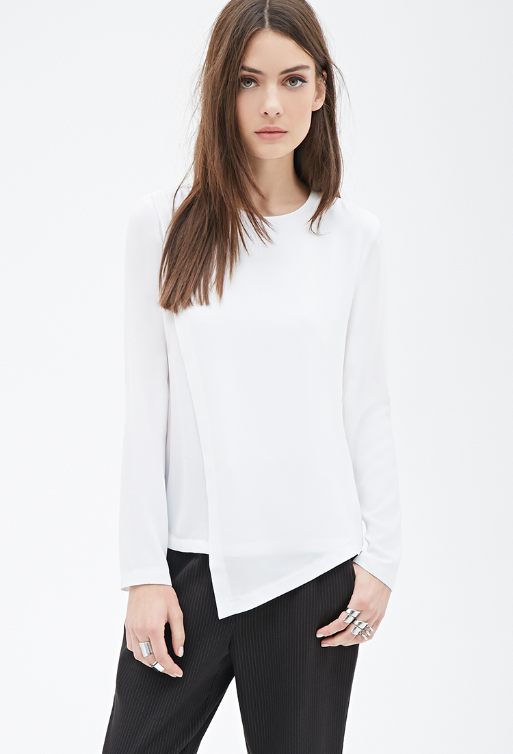 Lyst Forever 21 Layered Chiffon Blouse In White