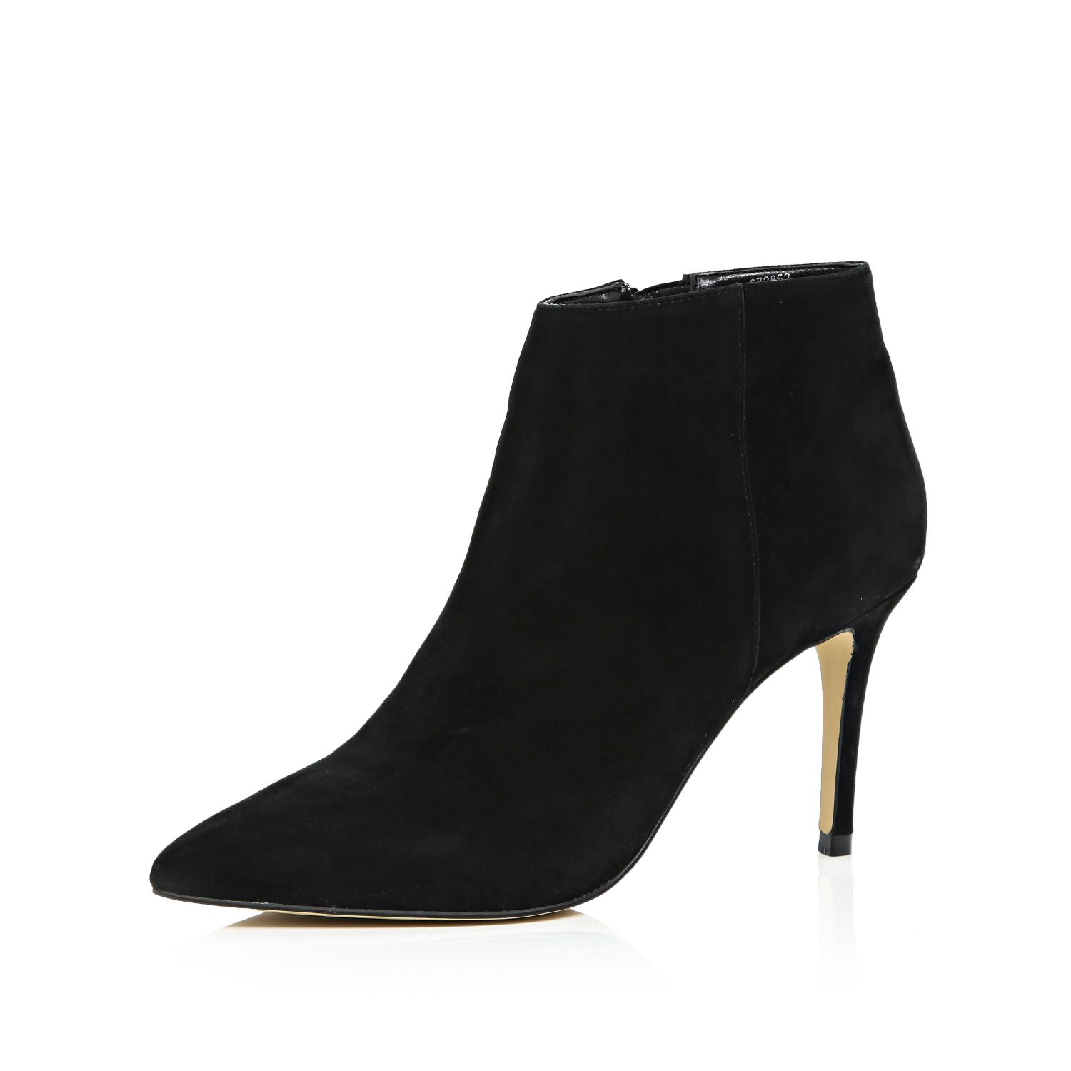 river island black suede pointed ankle boots in black lyst