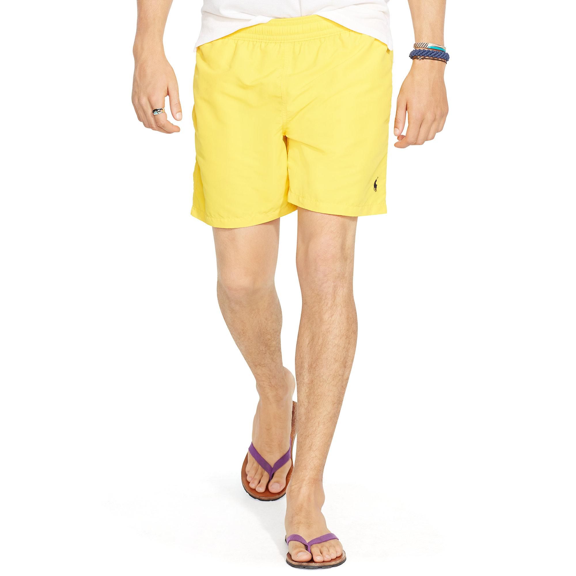 cd01151b6f6 ... wholesale lyst polo ralph lauren 6 solid hawaiian swim trunk in yellow  for men 9c773 48cf7