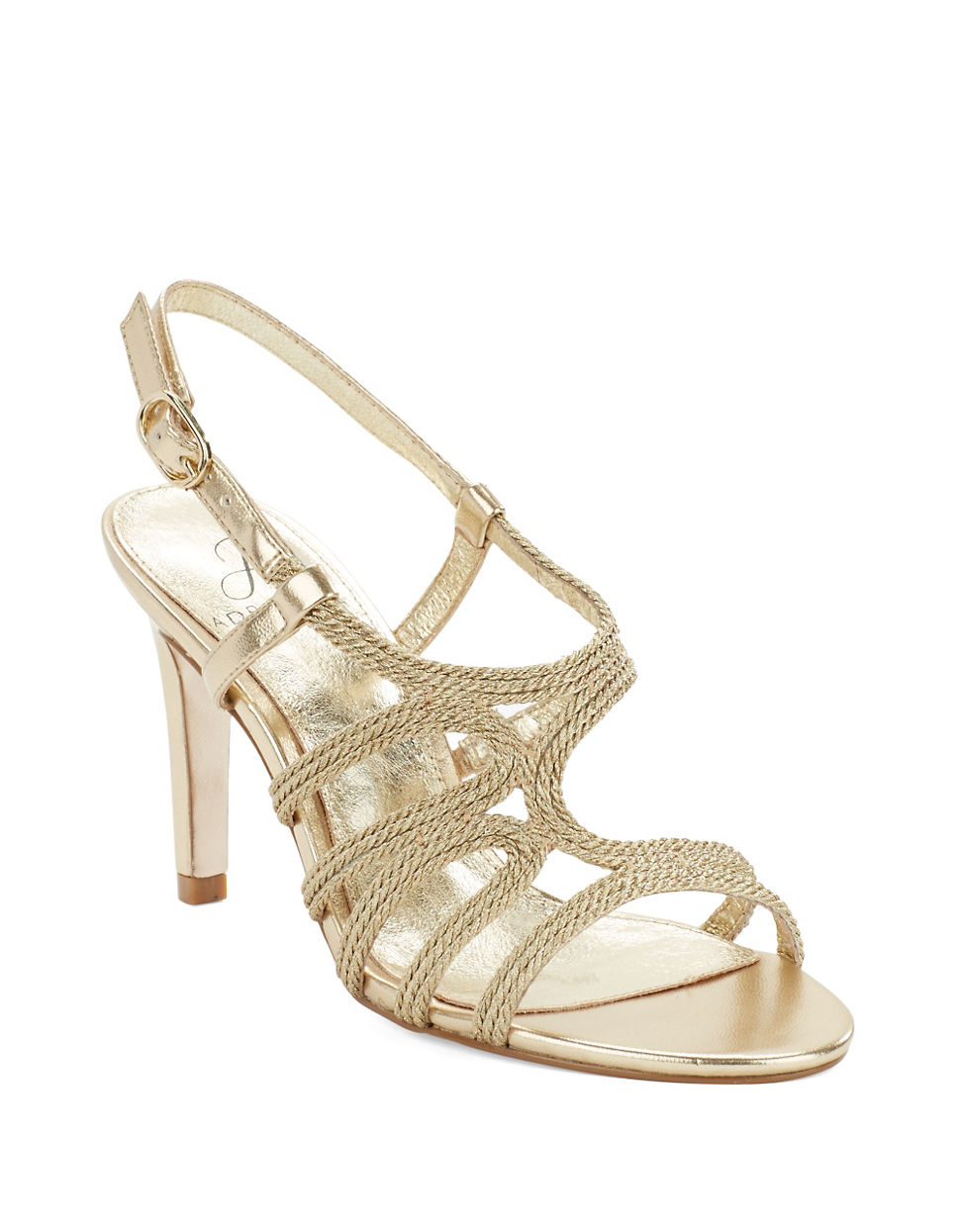 1f4761b1cb0 Lyst - Adrianna Papell Amena Open Toe Leather Rope Sandals in Metallic