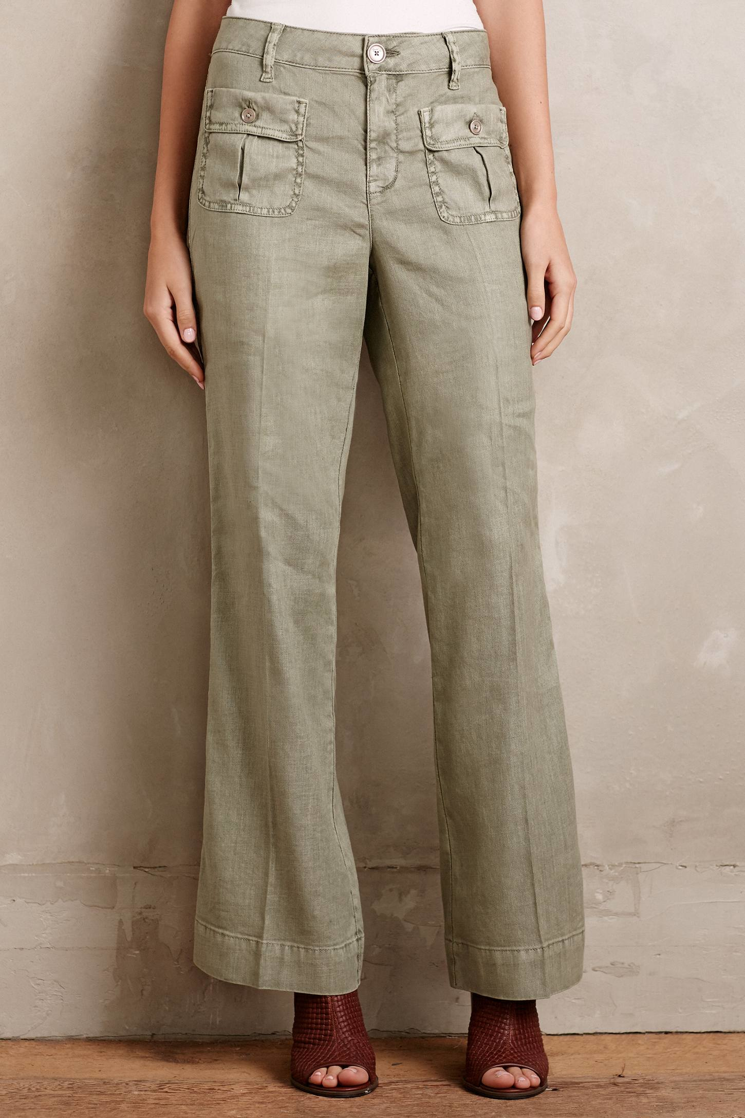 Level 99 Linen Flares In Green Lyst