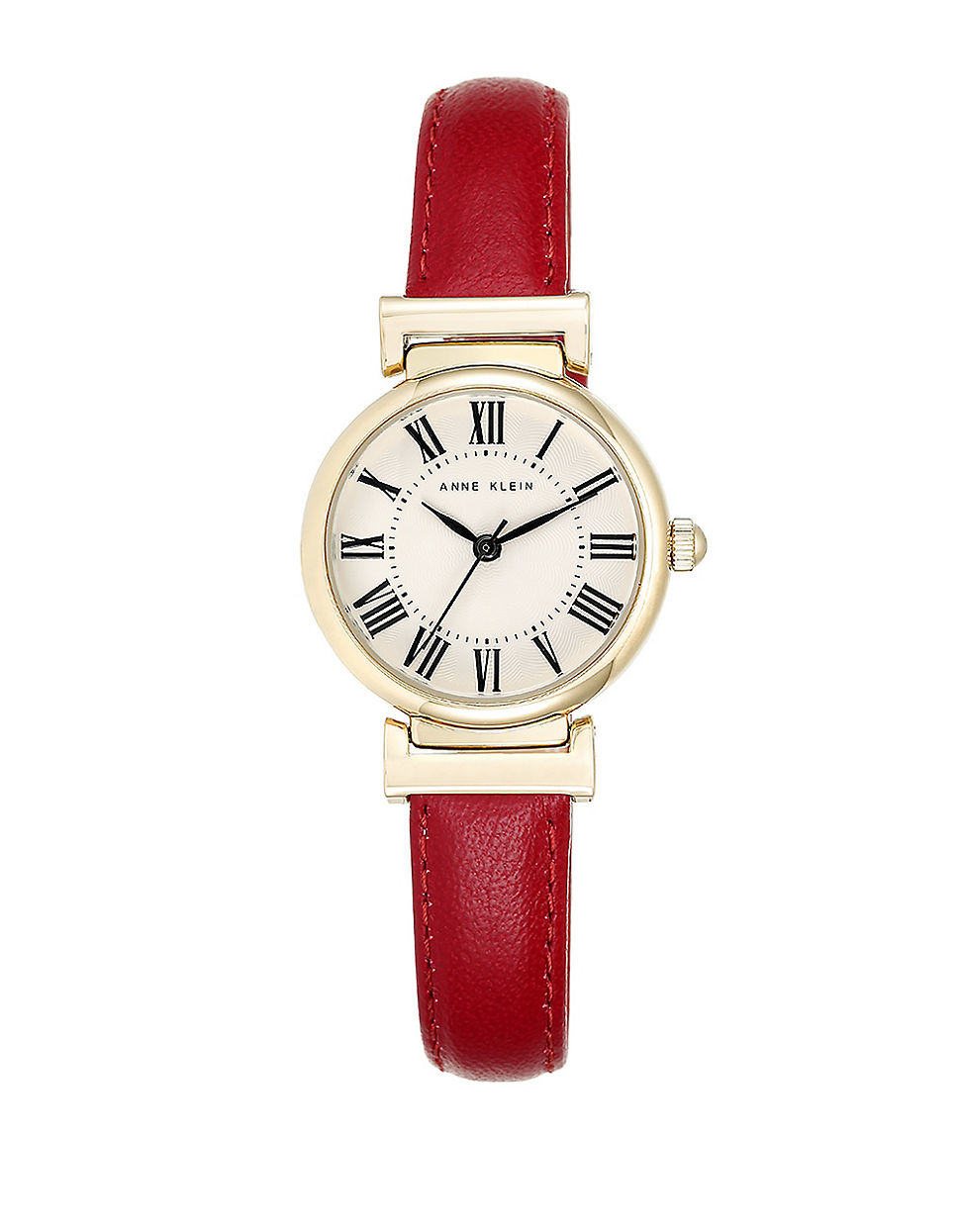 Lyst Anne Klein Goldtone And Red Leather Strap Watch In Red