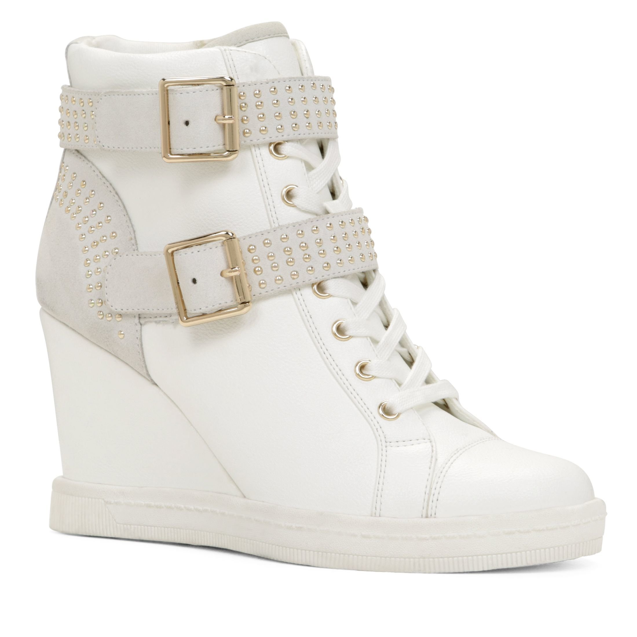 aldo verratti studded sneaker wedges in white lyst