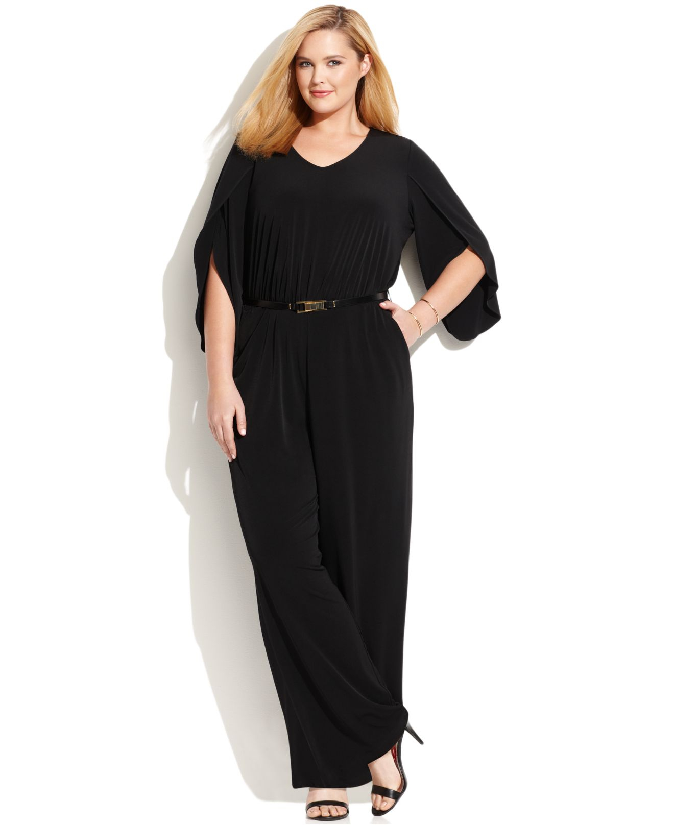 Lyst Calvin Klein Plus Size Bell Sleeve Belted Jumpsuit In Black