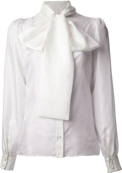 Dolce Amp Gabbana Neck Tie Blouse In White Lyst
