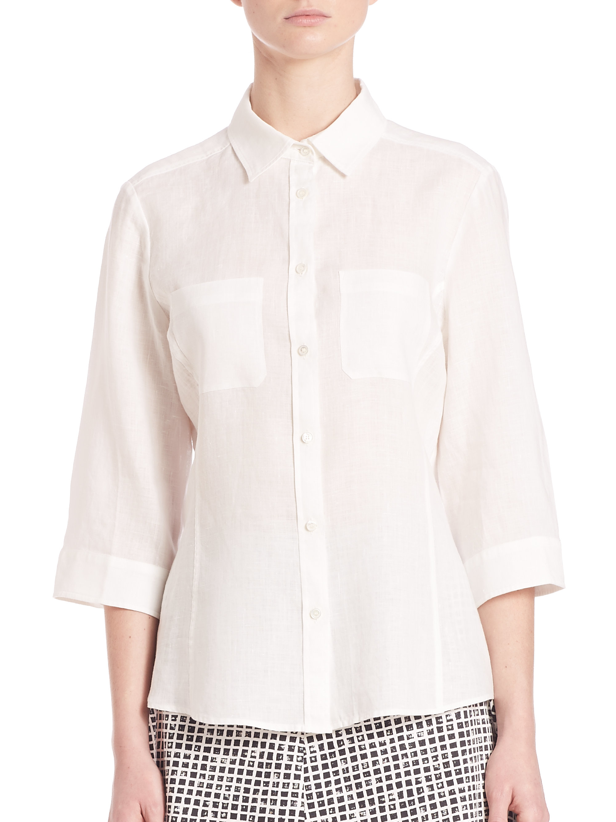 6a6dd7cbe281a Lyst - Weekend by Maxmara Giulio Linen Button-down Shirt in White