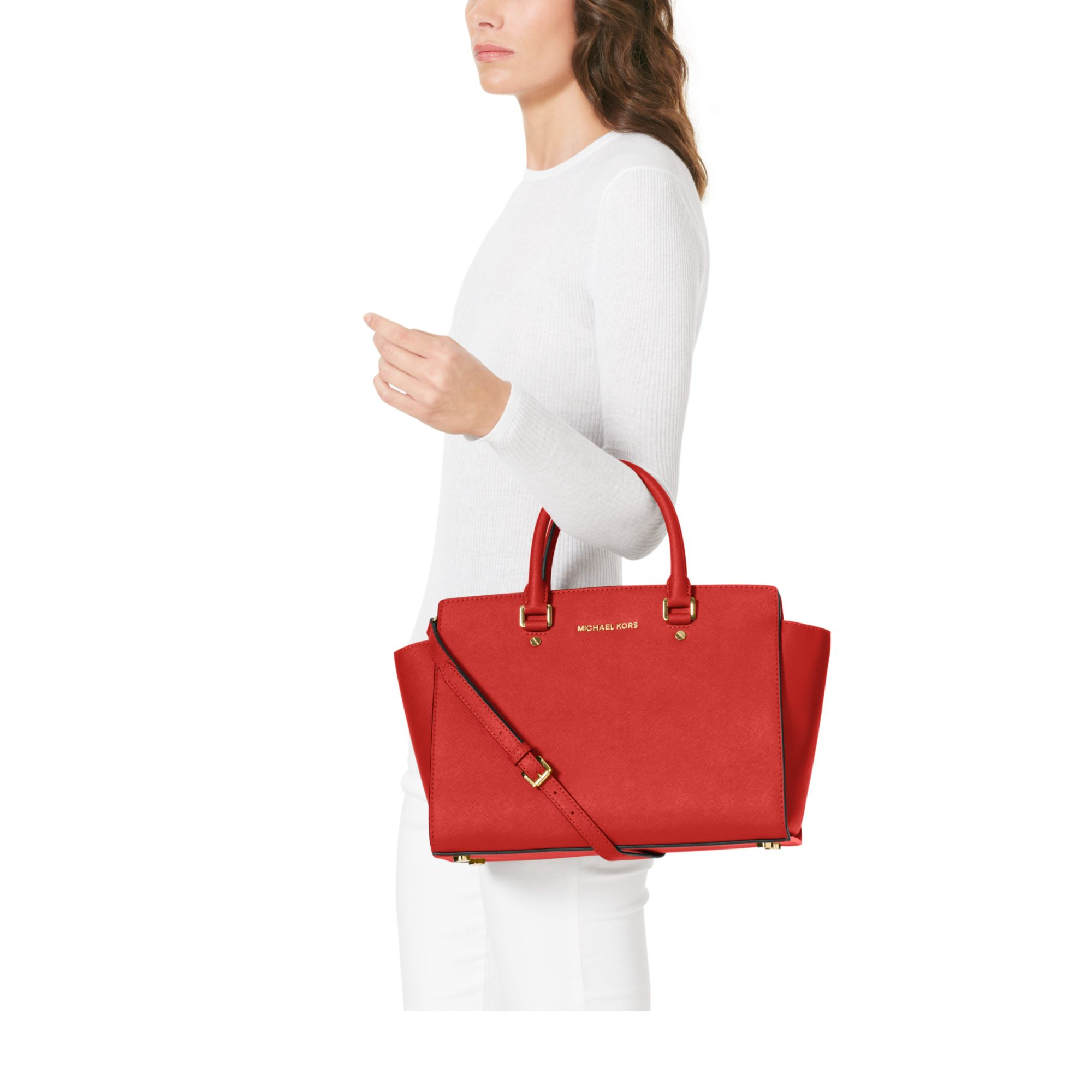 7f16ac1c1f25 Lyst - Michael Kors Selma Large Saffiano Leather Satchel in Red