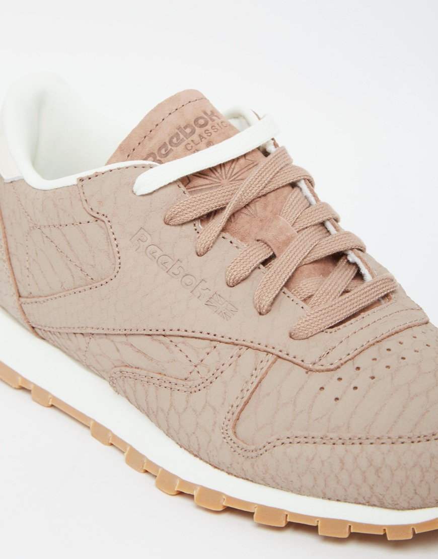 27ccf422bca510 Reebok Taupe Classic Leather Trainer With Snake Texture in Natural ...