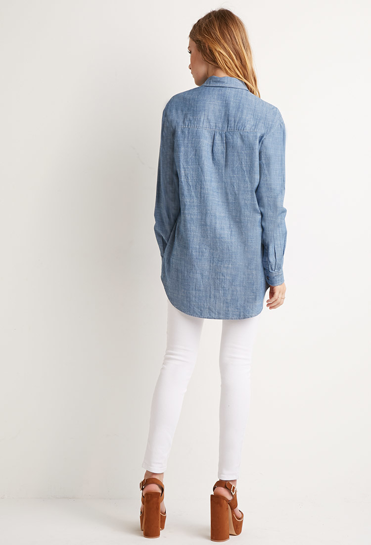 Lyst forever 21 chambray pocket shirt in blue for Chambray 7 s