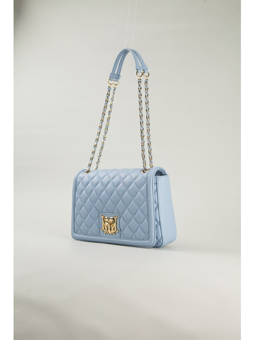 Love moschino Quilted-Leather Shoulder Bag in Blue | Lyst