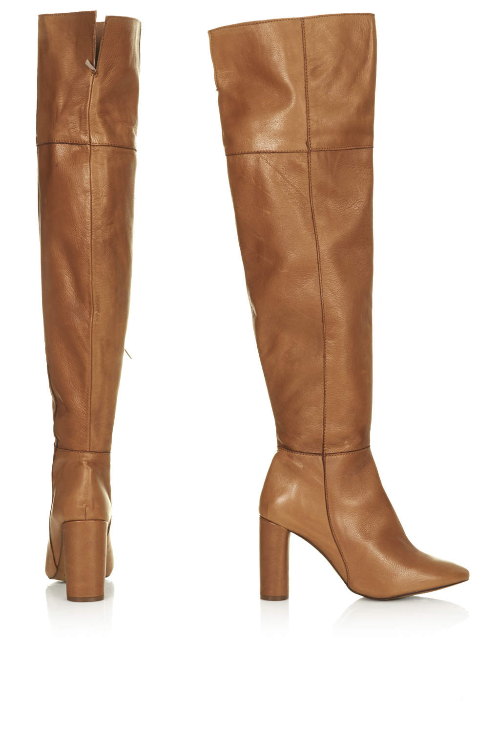 Lyst Topshop Collide High Leg Boots In Brown