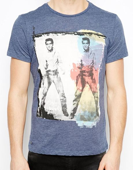 pepe jeans pepe t shirt andy warhol elvis print in blue. Black Bedroom Furniture Sets. Home Design Ideas