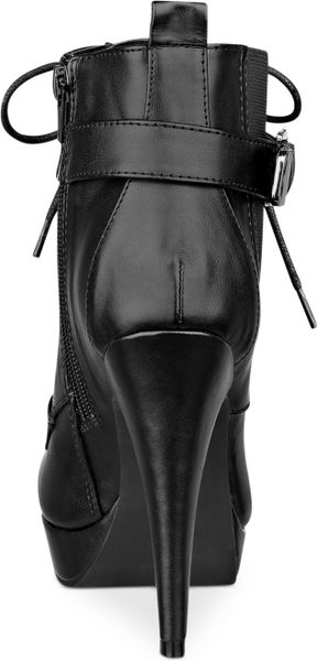 G By Guess Women S Denver Lace Up Dress Booties In Black