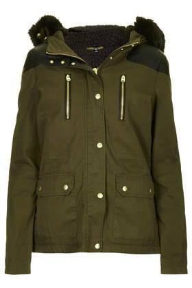 Topshop Short Padded Parka Jacket in Natural | Lyst