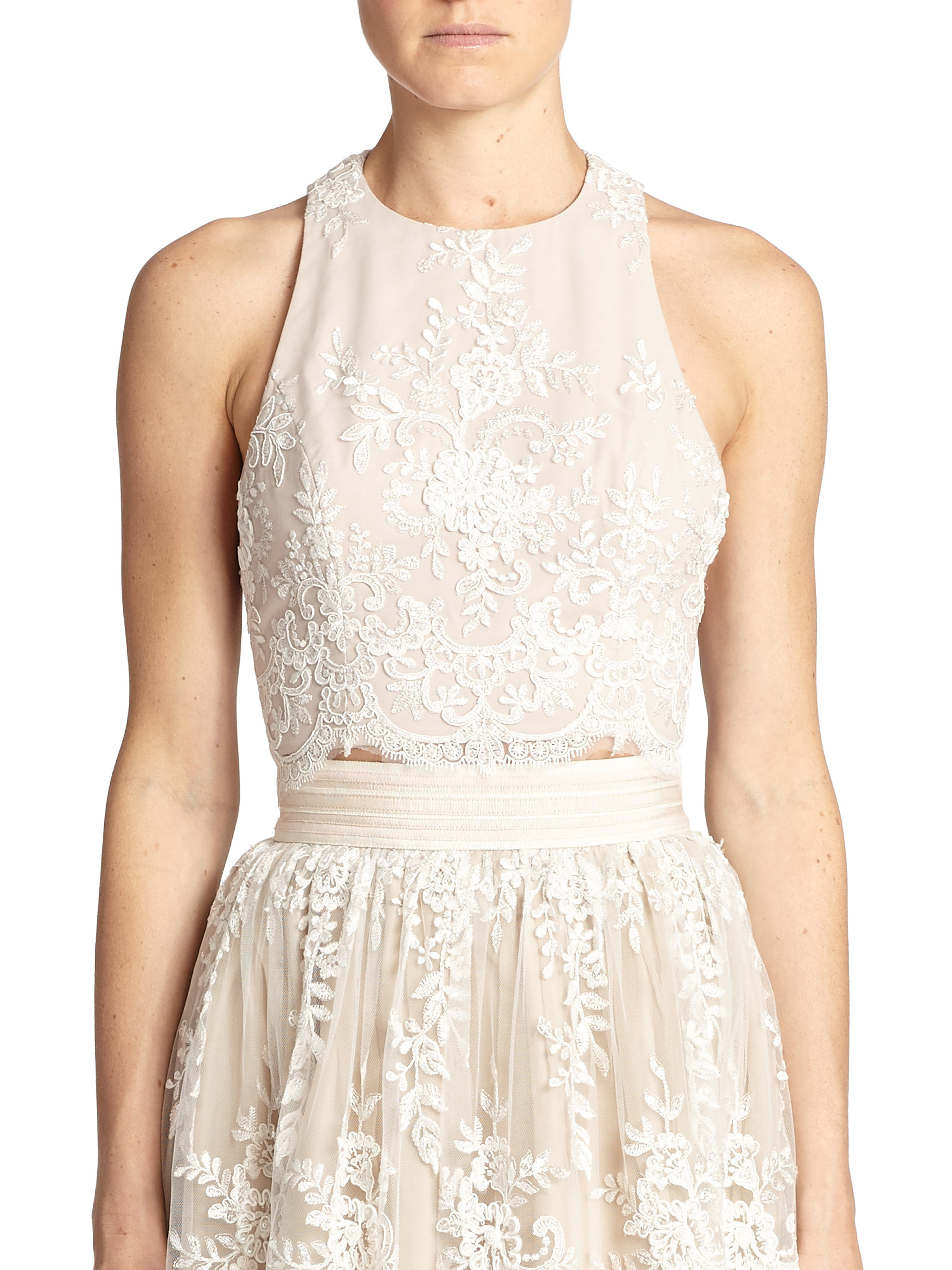 9bc2a4e8856f7 Lyst - Alice + Olivia Blythe Lace-Overlay Cropped Top in Natural