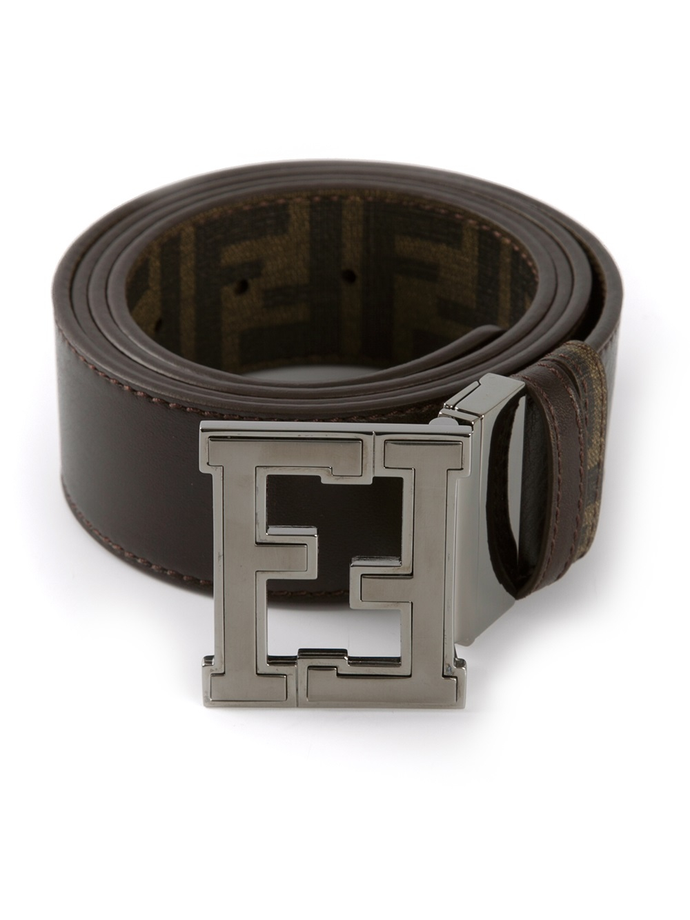fendi branded buckle belt in brown for lyst